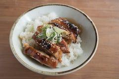 Cuenco de arroz asado a la parrilla del ` de Teriyaki del ` del pollo Imagen de archivo