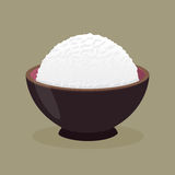 Cuenco de arroz cocido al vapor cocinado ilustración del vector