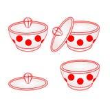 Cuenco de azúcar con vector rojo de los puntos Imagen de archivo libre de regalías