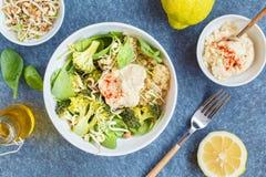 Cuenco de Buda con la quinoa, el bróculi y el hummus Fotografía de archivo
