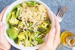 Cuenco de Buda con la quinoa, el bróculi y el hummus Foto de archivo