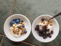Cuenco de cerámica dos con el yogur, las nueces estrelladas, zarzamoras y Fotos de archivo