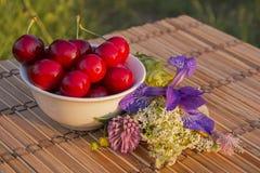 Cuenco de cerezas Fotografía de archivo