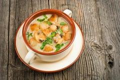 Cuenco de crema de la sopa de champiñones con las setas fritas Imagen de archivo