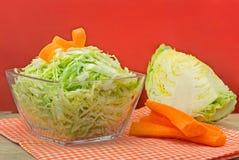 Cuenco de ensalada de col verde adornada con la zanahoria. Fotografía de archivo libre de regalías