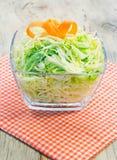 Cuenco de ensalada de col verde adornada con la zanahoria. Foto de archivo libre de regalías