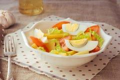 Cuenco de ensalada de patata con el huevo y el tomate Imágenes de archivo libres de regalías