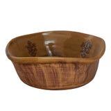 Cuenco de ensalada monocromático de cerámica de arcilla hecha a mano Aislado en un wh Imagenes de archivo