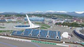 Cuenco de fuego olímpico de SOCHI, RUSIA Sochi en la antena del parque olímpico Cuenco de fuego olímpico de Sochi en el parque St Fotografía de archivo libre de regalías