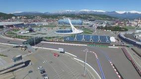 Cuenco de fuego olímpico de SOCHI, RUSIA Sochi en la antena del parque olímpico Cuenco de fuego olímpico de Sochi en el parque St Imagen de archivo