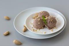 Cuenco de helado de chocolate con la menta y las nueces en un fondo ligero Fotografía de archivo