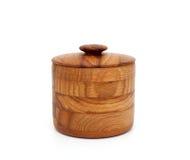 Cuenco de madera con la tapa Imagenes de archivo