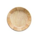 Cuenco de madera vacío brillante de la visión superior aislado en blanco Ahorrado con foto de archivo