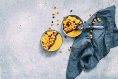 Cuenco de mango fresco sano en fondo gris imagenes de archivo