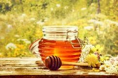 Cuenco de miel con el cazo en el campo de flores Imagen de archivo
