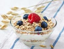 Cuenco de muesli y de yogur Foto de archivo libre de regalías