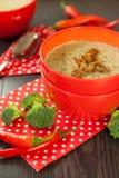 Cuenco de pimienta de chile y de sopa del bróculi fotografía de archivo
