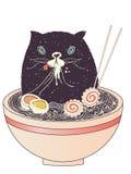 Cuenco de ramen y de gato negro ilustración del vector