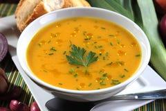 Cuenco de sopa de la calabaza Foto de archivo libre de regalías