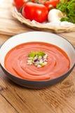 Cuenco de sopa del tomate Fotografía de archivo libre de regalías