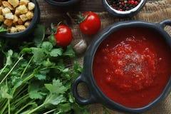 Cuenco de sopa del tomate con las hierbas frescas, el clavo y la pimienta negra en el fondo de madera rústico, visión superior Imagen de archivo