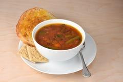 Cuenco de sopa de verduras caliente del jardín, cuchara, cr entero del saltine del grano fotos de archivo