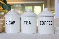 Cuenco de té y de azúcar del café Foto de archivo
