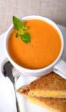Cuenco delicioso de sopa del tomate con el bocadillo asado a la parrilla del queso fotos de archivo