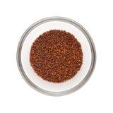 Cuenco medio lleno de pequeñas semillas orgánicas de la mostaza morena Imagen de archivo libre de regalías