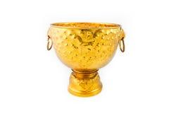 Cuenco y bandeja del oro con el pedestal imagen de archivo