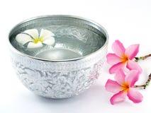 Cuenco y flores de plata del agua Imagen de archivo libre de regalías
