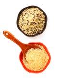 Cuencos de arroz crudo Imágenes de archivo libres de regalías