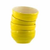 Cuencos de cerámica amarillos Imágenes de archivo libres de regalías