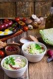 Cuencos de ensalada de las verduras frescas con la col y el rábano Fotografía de archivo libre de regalías