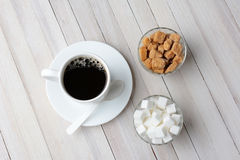 Cuencos del café y de azúcar Imágenes de archivo libres de regalías