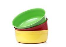 Cuencos plásticos coloridos Imagen de archivo libre de regalías