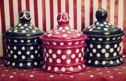 Cuencos punteados de la cocina Imagen de archivo libre de regalías