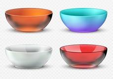 Cuencos realistas vacíos de la comida del vector Sistema del dishware de la cocina del plástico, del vidrio y de la porcelana libre illustration
