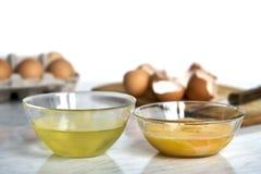 Cuencos transparentes con las proteínas y las yemas de huevo del huevo Imagen de archivo