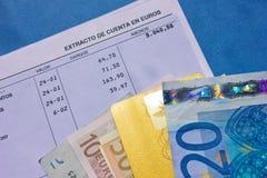 Cuenta bancaria del dinero y Foto de archivo libre de regalías