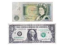 £1 cuenta británica de la nota v los E.E.U.U. $1 Foto de archivo