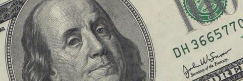 Cuenta de Ben Franklin $100 Imagenes de archivo