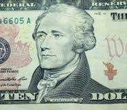 cuenta de dólar 10 Imagen de archivo libre de regalías