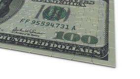 Cuenta de dólar del rompecabezas de rompecabezas 100 Imagenes de archivo