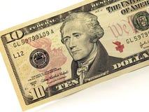 Cuenta de dólar diez Imágenes de archivo libres de regalías