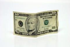 Cuenta de dólar diez Fotografía de archivo
