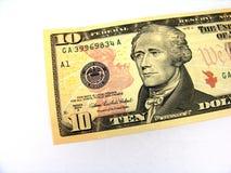 Cuenta de dólar diez. foto de archivo