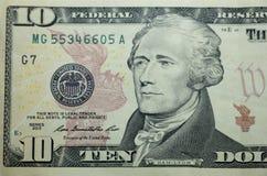 Cuenta de dólar diez Imagen de archivo libre de regalías