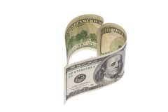 Cuenta de dinero en circulación del dólar en dimensión de una variable del corazón Fotografía de archivo libre de regalías