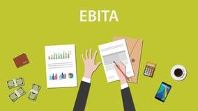 Cuenta de ganancias de EBITA antes del ejemplo del interés, de los impuestos, y de la amortización en una tabla Fotografía de archivo